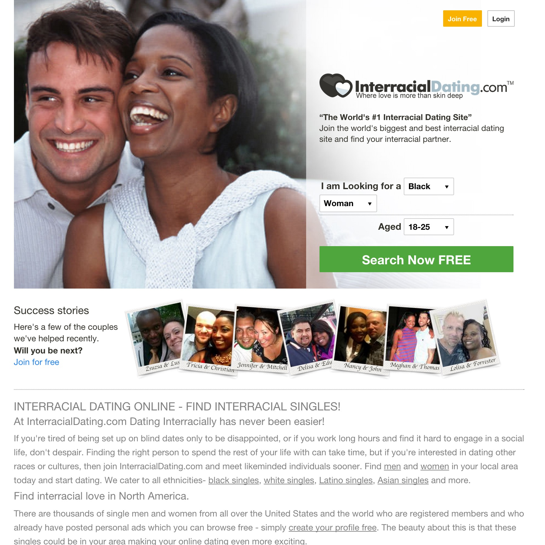 interracial online dating websites Online dating (or internet dating about one in ten respondents reported visiting these online dating websites including rising rates of interracial marriage.